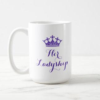 Coroa roxa da flor seu roteiro do Ladyship Caneca De Café