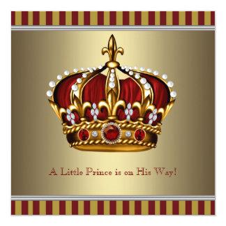 Coroa vermelha do ouro chá de fraldas pequeno do convite quadrado 13.35 x 13.35cm
