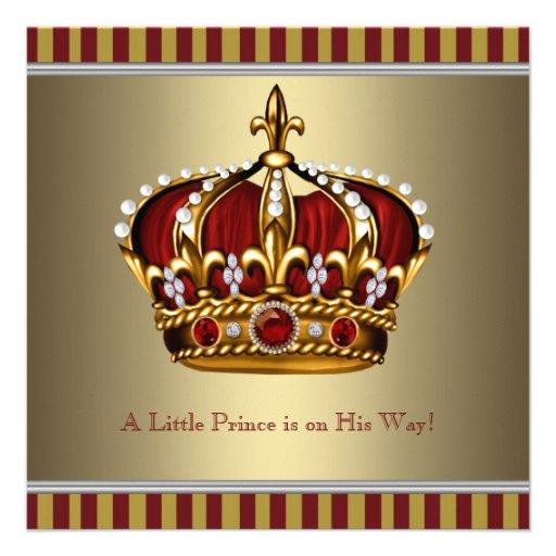 Coroa vermelha do ouro chá de fraldas pequeno do p convite