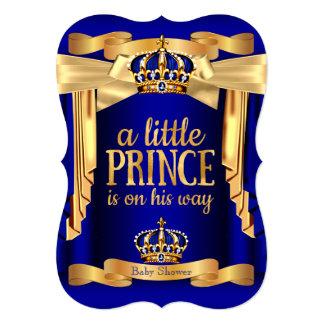 Coroas elegantes do ouro do príncipe chá de convite 12.7 x 17.78cm