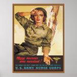 Corpo de enfermeira do exército do vintage poster