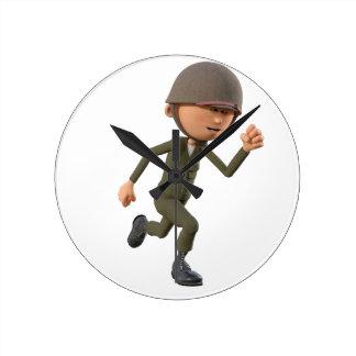 Corredor do soldado dos desenhos animados relógio redondo