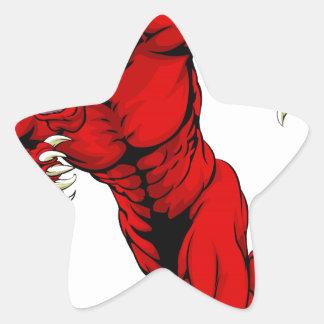 Corredor vermelho da mascote do touro adesivo em forma de estrela
