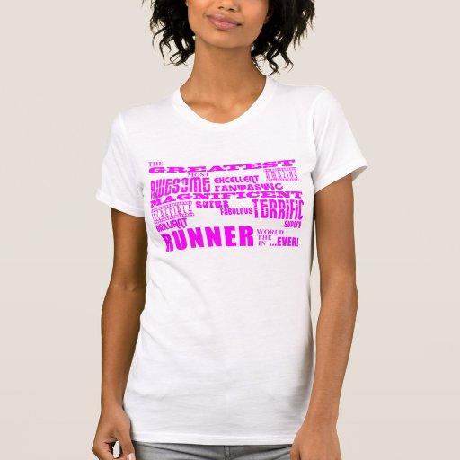 Corredores das meninas: Grande corredor cor-de-ros T-shirt