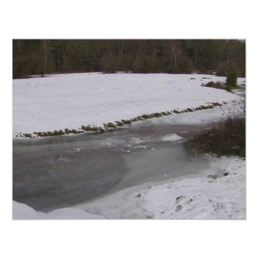 Córrego congelado na floresta nova convite personalizados