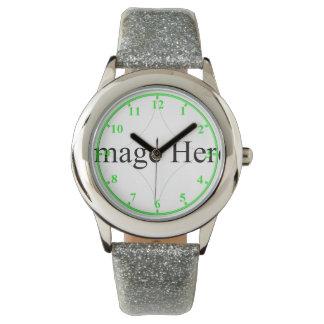 Correia customizável do brilho da prata do relógio