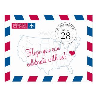 Correio aéreo de Virgínia que WEDDING RSVP Cartão Postal
