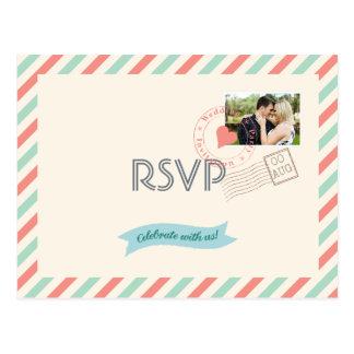 Correio aéreo do vintage que Wedding RSVP com foto Cartão Postal