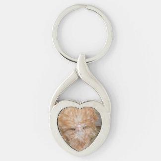 Corrente chave da galinha polonesa chaveiro coração torcido cor prata