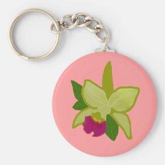 Corrente chave da orquídea verde chaveiros