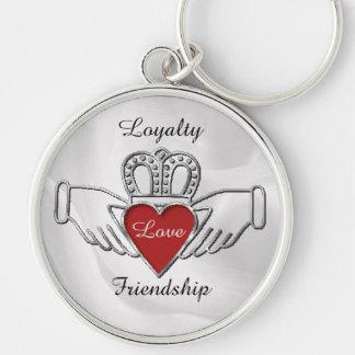 Corrente chave de Claddagh da amizade do amor da Chaveiro Redondo Na Cor Prata