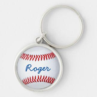 Corrente chave do basebol feito sob encomenda com chaveiro redondo na cor prata