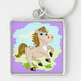 Corrente chave do cavalo bonito feliz dos desenhos chaveiro quadrado na cor prata