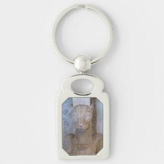 Corrente chave--Gato egípcio Chaveiro Retangular Cor Prata