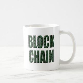 Corrente de bloco binária, uma base de dados caneca de café