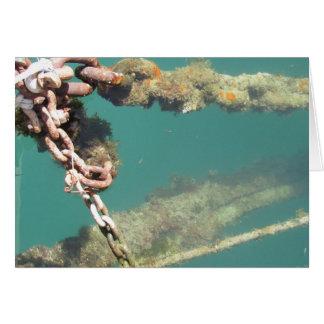 Correntes & cartão oxidados da água