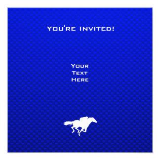 Corrida de cavalos azul convite personalizado