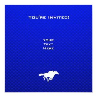 Corrida de cavalos azul convite quadrado 13.35 x 13.35cm