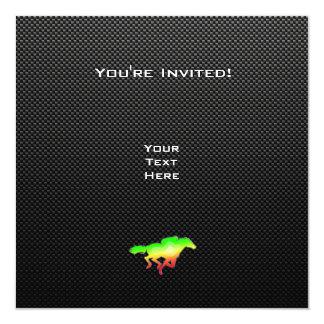 Corrida de cavalos lustrosa convite quadrado 13.35 x 13.35cm