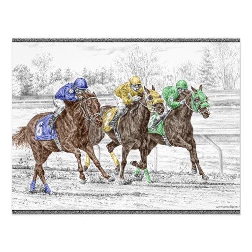 Corrida de cavalos três - pescoço e pescoço convites personalizados
