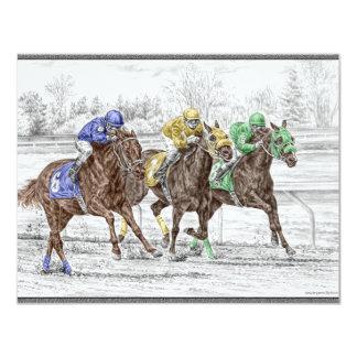 Corrida de cavalos três - pescoço e pescoço convite 10.79 x 13.97cm