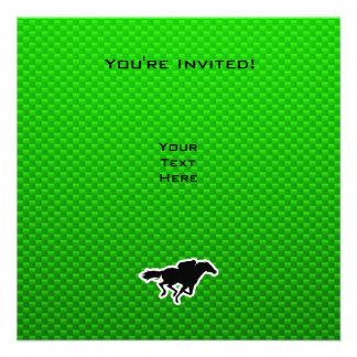 Corrida de cavalos verde convites personalizados