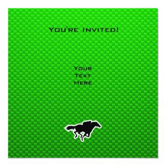 Corrida de cavalos verde convite quadrado 13.35 x 13.35cm