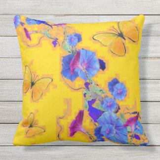 Corriola dourada do azul das borboletas almofada para ambientes externos