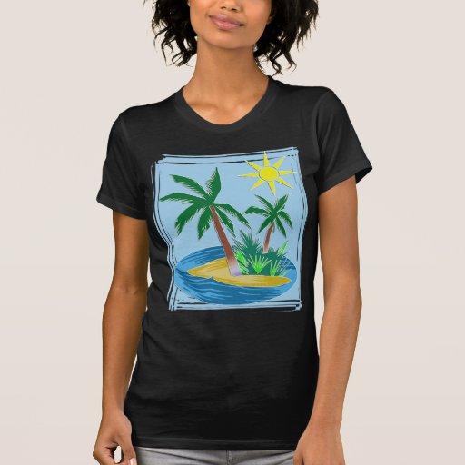 Corte a ilha, as palmas e Sun de papel Camiseta