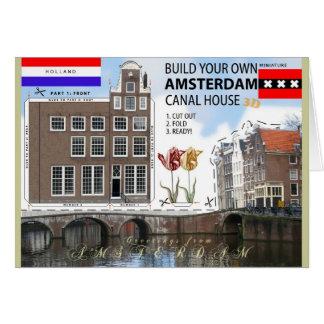 Corte da casa do canal de Amsterdão e cartão com