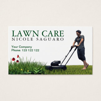 Corte da grama do cuidado do gramado cartão de visitas