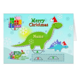 Corte do dinossauro 3D do Feliz Natal & cartão do