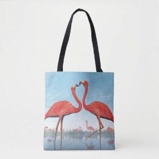 Corte dos flamingos - 3D rendem Bolsa Tote