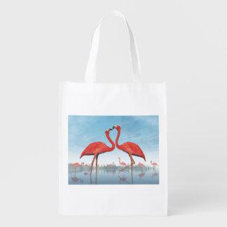 Corte dos flamingos - 3D rendem Sacolas Ecológicas