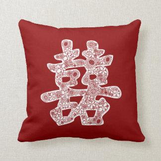 Corte floral do papel da felicidade chinesa do almofada