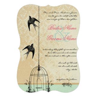 Corte o casamento rústico do Birdcage do pássaro d Convite