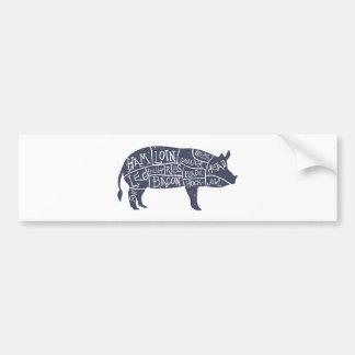 Cortes de carne de porco americanos, vintage adesivo para carro