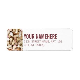 Cortiça do vinho etiqueta endereço de retorno