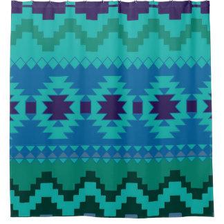 Cortina de chá asteca azul do teste padrão cortinas para chuveiro