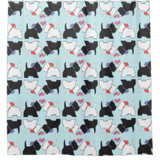 Cortina de chá bonito da arte do cão de Westie Cortina Para Chuveiro