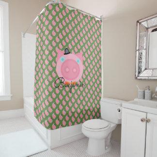 Cortina de chá cor-de-rosa bonito do porco da cortina para chuveiro
