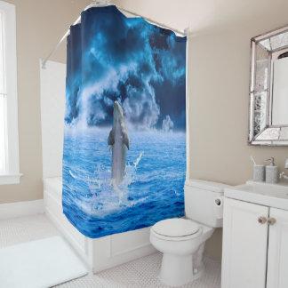 Cortina de chá da tempestade do oceano do golfinho cortinas para chuveiro