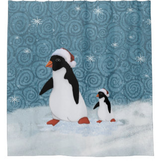 Cortina de chá dos pinguins do papai noel cortina para chuveiro