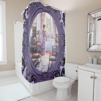 cortina de chá roxa do espelho da senhora do cortinas para chuveiro