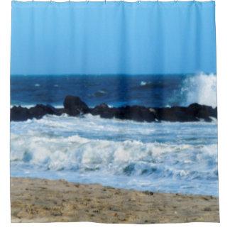Cortina Para Box a praia do oceano balança a cortina de chá da foto