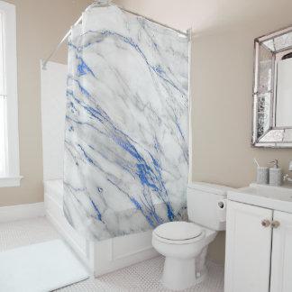 Cortina Para Box Abstrato azul branco cinzento de mármore do