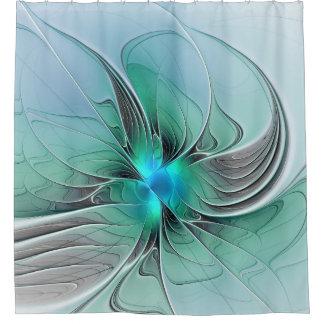 Cortina Para Box Abstrato com arte azul, moderna do Fractal