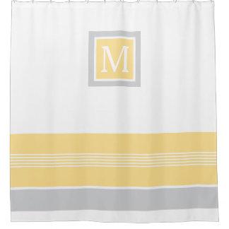 Cortina Para Box Amarelo do monograma e beira listrada cinzenta