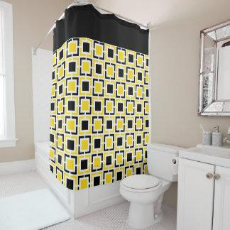 Cortina Para Box Amarelo, quadrados retros brancos do preto