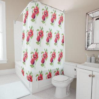 Cortina Para Box Arte floral das papoilas vermelhas